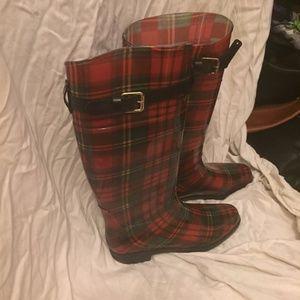 Ralph Lauren red plaid tartan rain boots, sz. 8